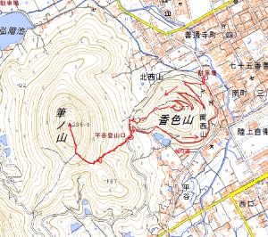 香色山・筆の山ルート図