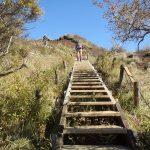 またまた長い階段の登り塔の岳が近くなってきた