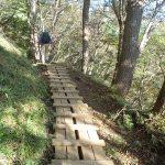 登りのきつくなった木道を行く登山者・8:22